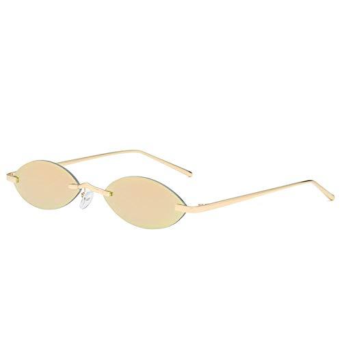 DLSM Gafas de Sol óvulas sin Montura Mujeres Pequeñas Gafas de Sol Marco de Metal Espejo Vintage Gafas de Sol para Hombres adecuados para Fiestas Gafas de Sol de conducción de Golf-Rosa