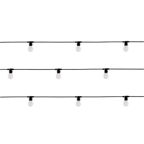SELETTI Guirlande de 10 Ampoules LED « Bella Vista » pour Jardin 14,2 m Fil Noir