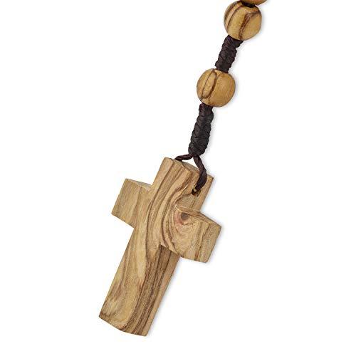 Auténtica madera de olivo católico rosario collar de Belén en algodón Natural bolsa por beblessed
