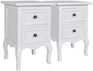 AVC Designs Pair White Bedroom Bedside Table Unit Cabinet Nightstand 2 Drawer Storage