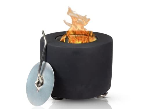 NOTALO Camino da tavolo: falò da tavolo in cemento [interno ed esterno] per bioetanolo con doppia camera di combustione e pratico ausilio per estintore