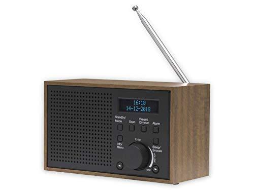 DAB+ und FM-Digitalradio DENVER DAB-46 dunkelgrau, Uhr und Wecker, funktioniert mit Batterie und Strom, 2 W Audio-Ausgang, Holz-Finish.