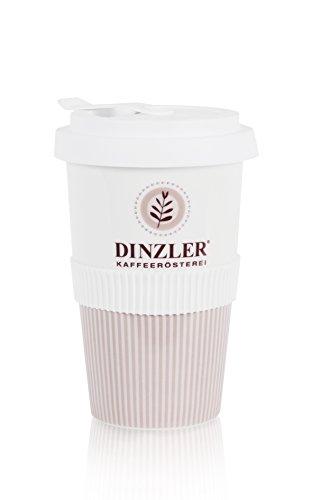 Dinzler Koffiebeker To Go porselein met Dinzler logo, deksel met afsluitflap, ToGo-beker, herbruikbaar