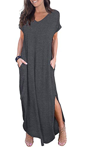 GRECERELLE Solid V-Neck Pocket Loose Maxi Dress Dark Gray X-Large