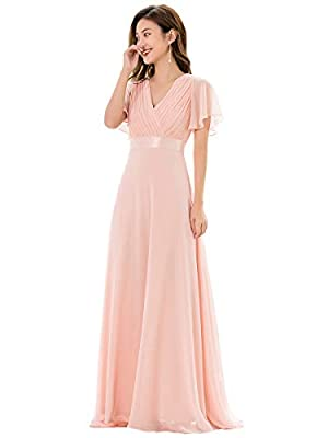 Ever-Pretty Womens Floor Length Long Chiffon Bridesmaids Dress 20 US Pink