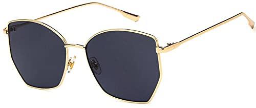 Gafas De Solgafas De Sol Retro Irregulares para Mujer Gafas De Sol Transparentes De MetalUv400 Gafas De Sol De Gran Tamaño Goldgray