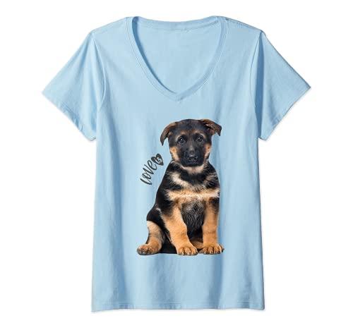 Mujer Camiseta de pastor alemán Shepard Dog Mom Dad Love Pet Puppy Tee Camiseta Cuello V