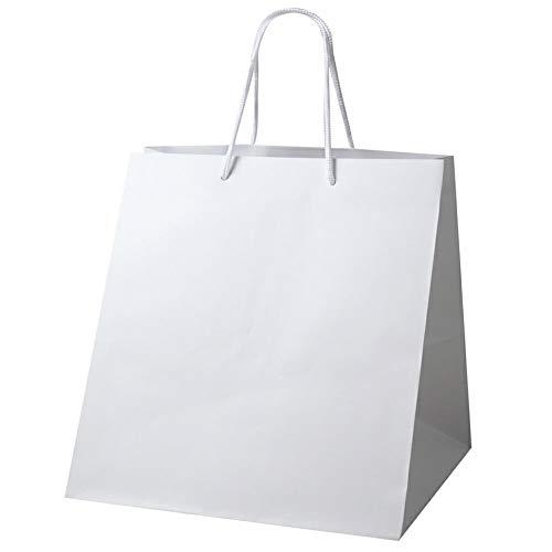 井上紙業 高級 手提げ紙袋 (白 丸ひも 無地 マチ広め) 紙袋 大 [ 10枚 ] イベント用 お渡し用 手さげ プレゼント袋 (マットホワイト) W-350 350x320x370