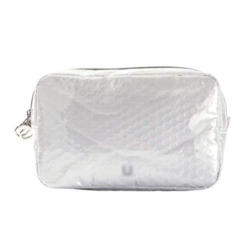 ZAZA Kreative Blase Film Kosmetiktasche mit Reißverschluss wasserdichte Make-up Tasche Fall Große Reise Aufbewahrungstasche Tragbare Kulturbeutel-2 Farben (Color : White, Größe : C)