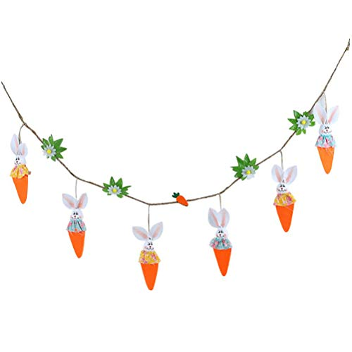 Easter Banner Carrot and Bunny Pattern Bunting Garland Easter Decoration for Home Party Decor Favors