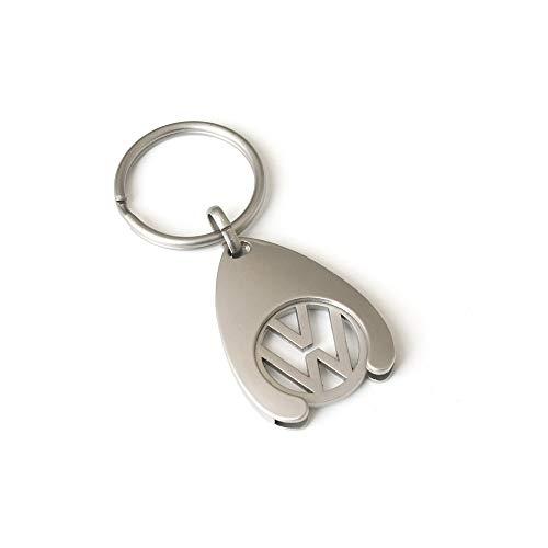 Volkswagen 000087055VAHW Schlüsselanhänger Einkaufswagenchip Keyring Anhänger Coin Chip Silber