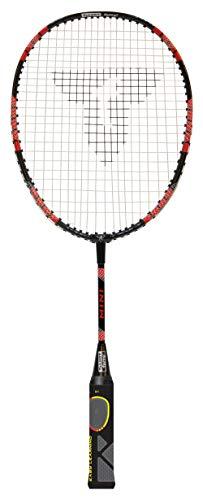 Talbot Torro Lern-Badmintonschläger ELI Mini, verkürzte Länge 53 cm, Lerngriff, Tropfenkopf, ideal für Schulsport und Training, schwarz-gelb-rot, 419612