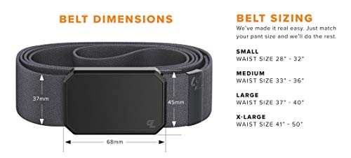Groove Belt by Groove Life – Men's Stretch Nylon Belt with Magnetic Aluminum Buckle, Lifetime Coverage
