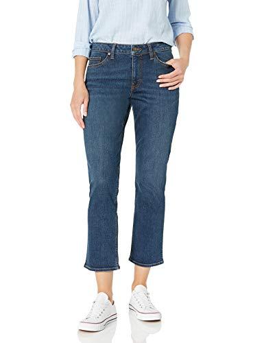 Amazon Brand - Goodthreads Women's Mid-Rise Relaxed Girlfriend Jean, Deep Blue 27