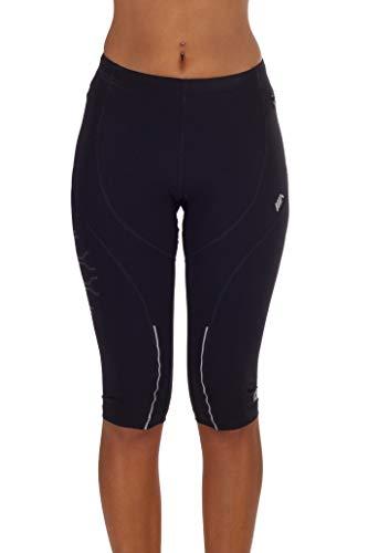 MICO Pantalone 3/4 Running Elasticizzato, in Tessuto Tecnico Sensitive by Eurojersey®, Cordoncino in Vita, Tranfers e Piping Catarifrangenti, per Donna Woman Sportiva, in Colore Nero