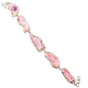 jewels paradise Pulsera de Piedras Preciosas de ágata con Ventana Rosa Hecha a Mano en Plata de Ley 925 (SF-1078)