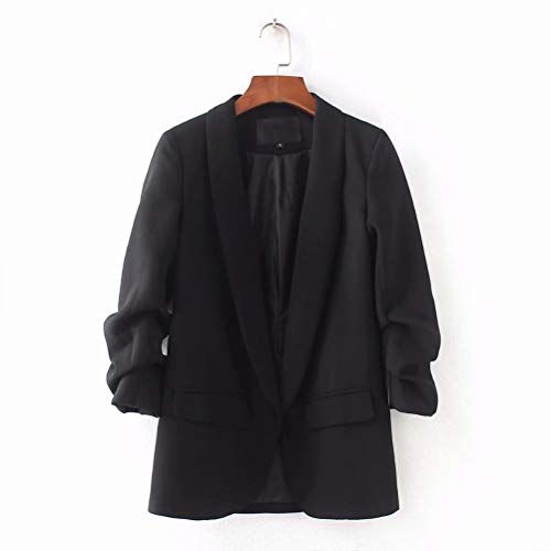Men's Casual Slim Fit Suit Blazer Jackets Solid Color Business Lightweight Sports Coats One Button (M, Black)