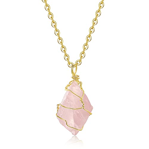 XIANNVXI Healing Crystal Necklaces Gold Wire Wrapped Irregular Raw Stone Rose Quartz Pendant Necklace Reiki Natural Gemstone Quartz Jewelry for Women Girls
