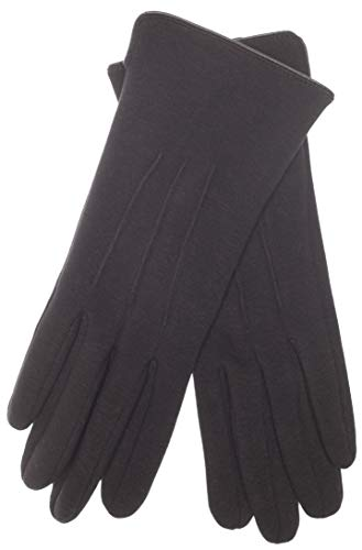EEM Damen Jersey Handschuhe TIA aus Baumwolle mit Touch-Funktion, stretch, gefüttert mit kuschelig weichem Teddyfleece Schwarz One size