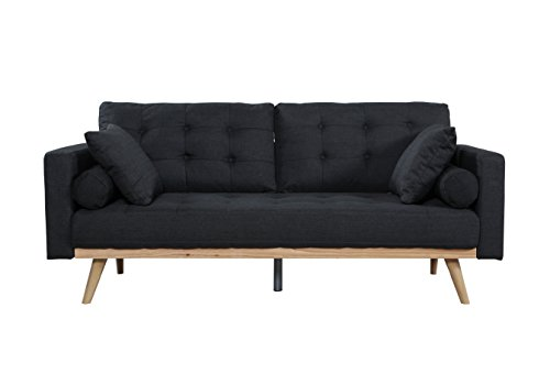 Casa Andrea Milano llc Mid Century Modern Tufted Upholstered Fabric Sofa Couch, Slate