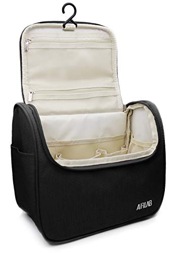Travel Hanging Toiletry Bag for men and women, Airlab Large Toiletries Organizer, Make up, Cosmetic bag with Handle and Hook, Travel Organizer, Black