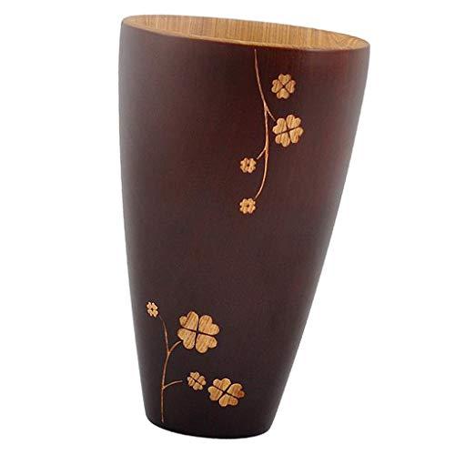 LOVIVER Vaso de Taza de Limón de Madera con Diseño de Flores Blesiya, Taza de Té Hecha a Mano Primitiva
