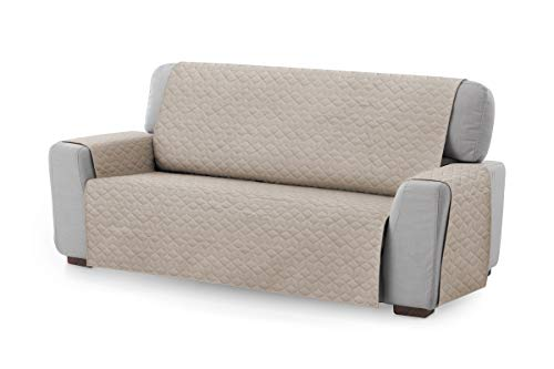 Textil-home Sesselschoner Sofaüberwurf Adele, 3 Sitzer - Reversibel gepolsterter Sofaschutz. Farbe Beige