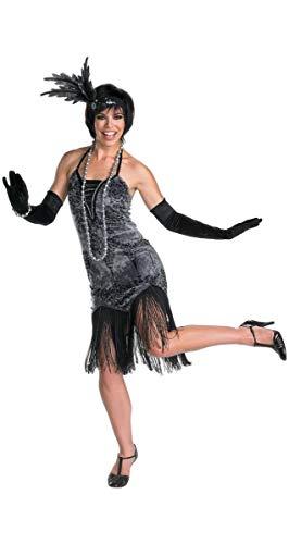 Forever Young Damen Kleid mit Fransen, Vintage, 1920er-Jahre, Schwarz/Grau Gr. 40, Schwarz-graues Blumenmuster
