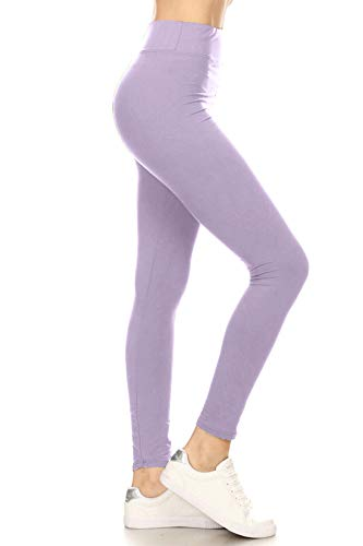 LYR128-LAVENDER Yoga Solid Leggings, One Size