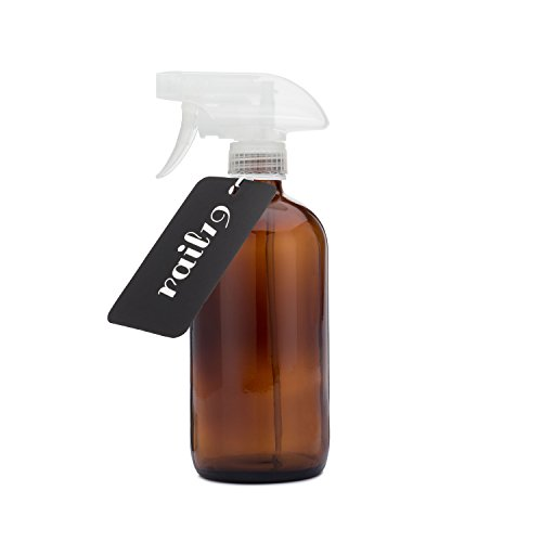Rail19 Empty Amber Glass Spray Bottle with Clear Spray Trigger - Large 16 Oz Refillable Spray Bottle