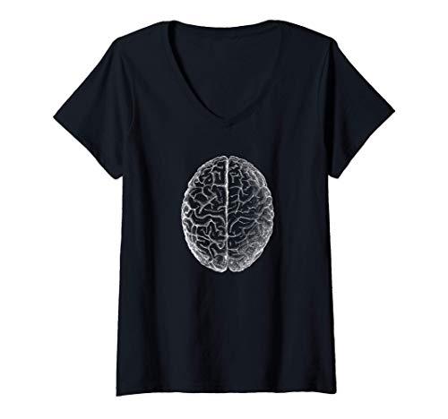 Mujer Anatomía clásica del cerebro humano Anatomía humana Camiseta Cuello V