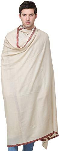 Exotic India - Chal para hombre de color marfil perlado Pashmina de K - blanco apagado