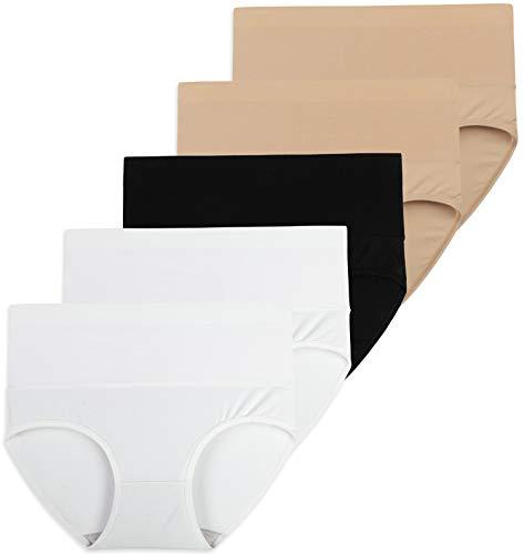 INNERSY Frauen Unterhosen Große Größen Damen Slip Hoher Taille Pants 5er Pack (40, Kamel/Schwarz/Weiß)