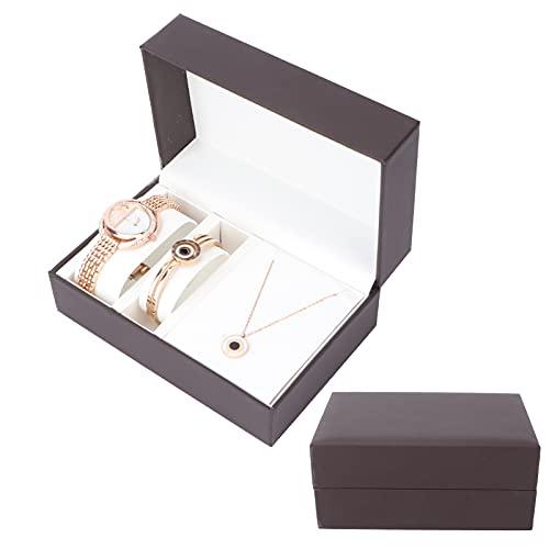 SONK Brazalete Tipo Brazalete, Reloj Set Regalo De Oro Rosa Sincronización Precisa para Mujer para Cumpleaños para Vacaciones