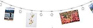 Hanging Photo Clip Wall Display. Twelve clips to attach pictures, kid's artwork, Christmas cards, holiday decorations, home decor. String pictures. Durable curtain wire with 2 screw-in hooks included