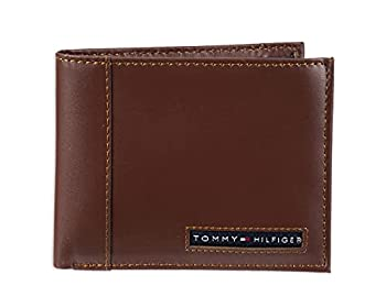 Tommy Hilfiger Men s Leather Wallet – Slim Bifold with 6 Credit Card Pockets and Removable ID Window Tan Beige One Size