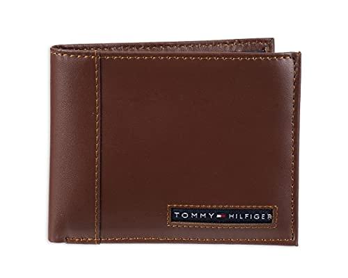 Carteira masculina de couro Tommy Hilfiger – dobra dupla fina com 6 bolsos para cartão de crédito e janela de identidade removível, Tan Beige, tamanho único