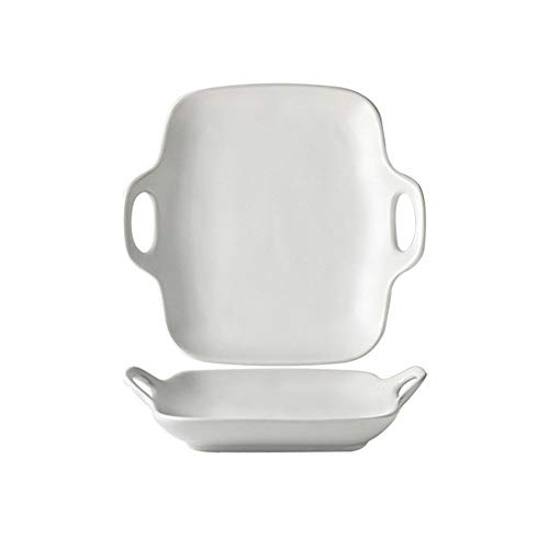 MAATCHH Platos para Hornear Simple Color Sólido Helado Mate Binaural Binaury Bakeware Fruit Placa de Ensalada Placa de Desayuno para cocinar para Cocinar (Color : A, Size : 19.7x19x4cm)