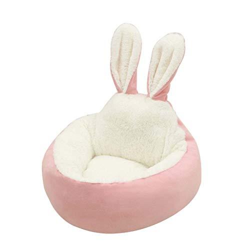 Judyd Warm Lovely Rabbit Ear Plush Pet Nest Doghouse Arena para Gatos Pet Sleeping Bed Nest, Pink Rabbit Ears Cat and Dog Plush Pet Nest, Rosa