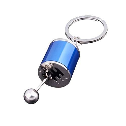 XuBa Llavero de metal antiestrés para coche creativo, 6 velocidades, caja de cambios, juguete para cambio de carreras, modelo de afinación, llavero de novedad para coche, juguetes azules