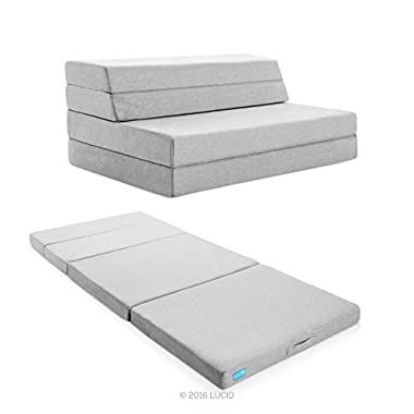 Lucid 4  Folding Mattress & Sofa with Removable Indoor/Outdoor Fabric Cover, King