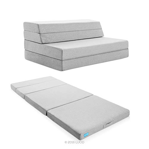 Lucid 4' Folding Mattress & Sofa with Removable Indoor/Outdoor Fabric Cover, Full