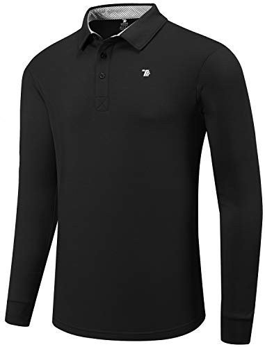 MoFiz Men's Polo Shirts Long Sleeve Golf Polos Fitness Shirts Men's Sports Polo Shirts Comfortable Shirts Black Size XL