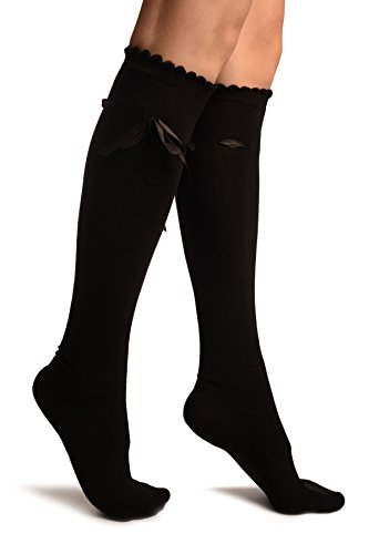 LissKiss Black With Satin Ribbon Knee High Socks - Schwarz Socken, Einheitsgroesse (37-42)