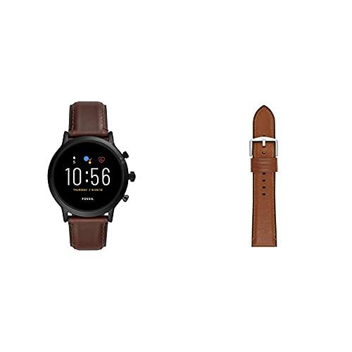 Fossil Smartwatch Pantalla táctil para Hombre de Connected con Correa en Piel FTW4026, Cuero Marrón Oscuro + Correa de Piel Marrón Claro y Silicona
