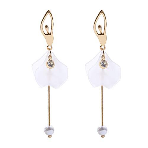 Ms. Swan Gold - Pendientes largos para mujer, diseño de pétalos de bailarina