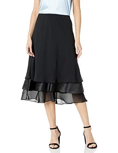 Alex Evenings Women's Tea Length Dress Skirt (Petite Regular Plus Sizes), Black Tier, L