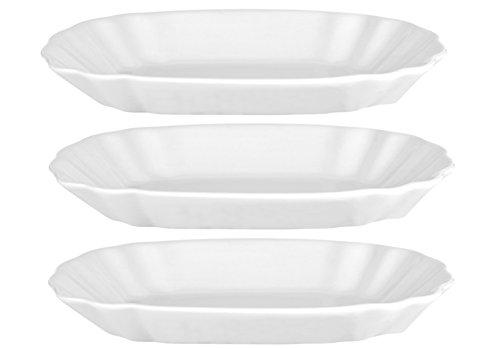 Van Well Geschirr-Serie Avanti-Kollektion, Porzellan zum Servieren für Privat und Gastronomie, 3er Set Pommes-Frites Schalen