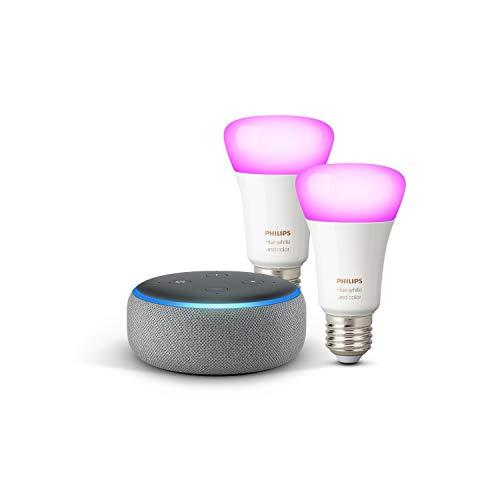 Echo Dot (3ª gen.) - Tessuto grigio mélange + Lampadine intelligenti a LED Philips Hue White & Color Ambiance, confezione da 2 lampadine, compatibili con Bluetooth e Zigbee (non è necessario un hub)