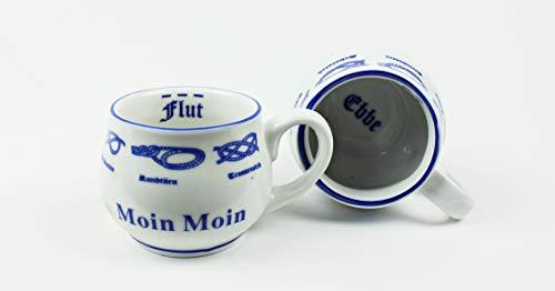 Buddel Bini Versand Moin Moin Pöttchen mit Seemannsknoten 2er Set bauchig Hamburg Andenken Mini Becher Schnapsglas Schnaps